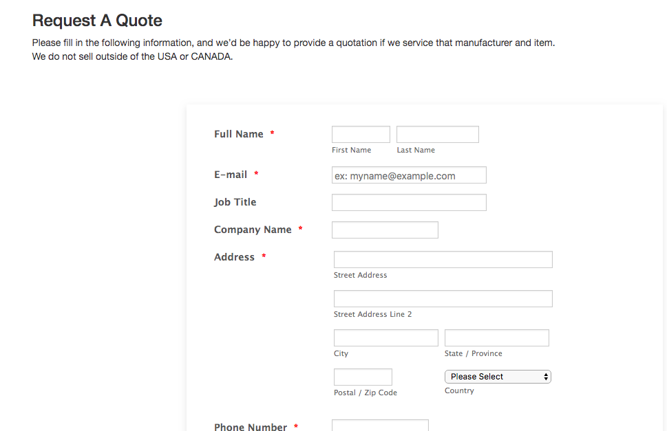 Site builder request a quote